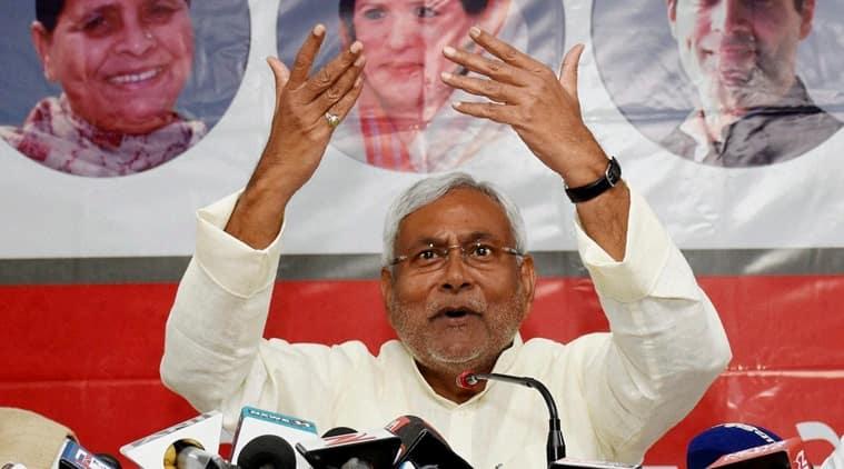 Bihar Chief Minister Nitish Kumar addresses the media at JD(U) party office in Patna on Saturday. (PTI Photo)