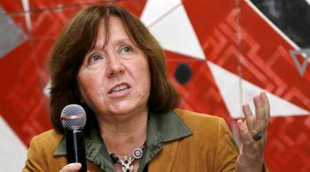 "In this photo taken on Tuesday, Sept. 16, 2014, Belarusian journalist Svetlana Alexievich speaks in Minsk, Belarus. Belarusian writer Svetlana Alexievich won the Nobel Prize in literature Thursday, Oct. 8, 2015, for works that the prize judges called ""a monument to suffering and courage."" (AP Photo/Sergei Grits)"