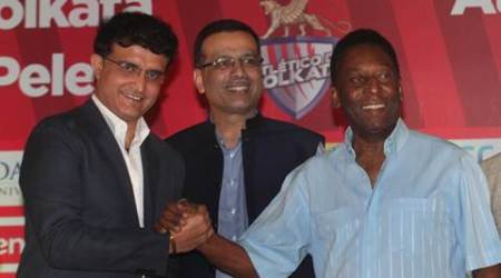 From left to right : Co -owner of  of Atletico de Kolkata  sourav Ganguly, Sanjiv Goenka and  legend footballer Pele during a press conference in Kolkata on Monday. Express photo by Partha Paul. Kolkata.12.10.15