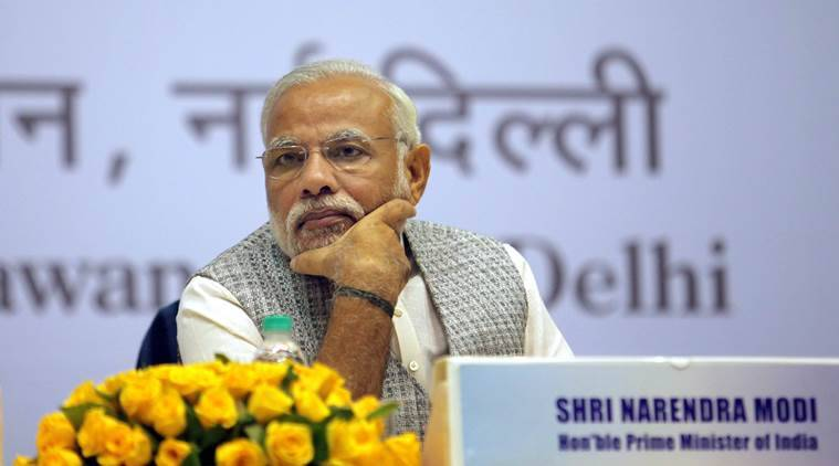 Prime minister Narendra Modi during the Loktantra Prahari Abhinandan on the birth anniversary of Loknayak Jaiparkash Nayrayan, in New Delhi on oct 11th 2015. Express photo by Ravi Kanojia.