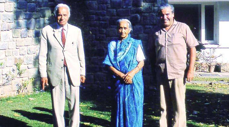 William J R Curtis (right) with P L Verma, former chief engineer of Punjab, and his wife in front of their house in Chandigarh.