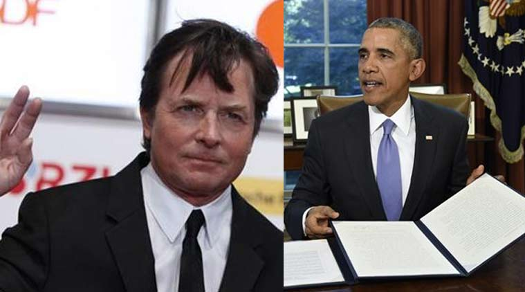 US President Barack Obama, Michael J Fox