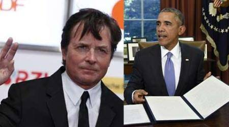 US President Barack Obama wishes Michael J Fox happy 'Back to the Future' day