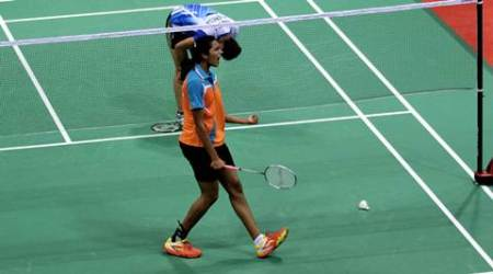 PV Sindhu of India celebrates after won the women single quarter final match against Bellaetrix Manuputty of Indonesia during the Thomas and Uber cup final 2014, at Siri fort sports complex, in New Delhi on 22nd 2014. Express photo by Ravi Kanojia