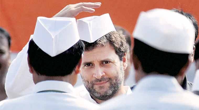 Rahul Gandhi during a rally in Areraj on Monday. (Source: PTI)