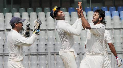 Mumbai : Shardul Thakur of Mumbai celebrates after taking a wicket during the Ranji Trophy match against Punjab at Wankhede Stadium in Mumbai on Thursday. PTI Photo (PTI10_8_2015_000249B)