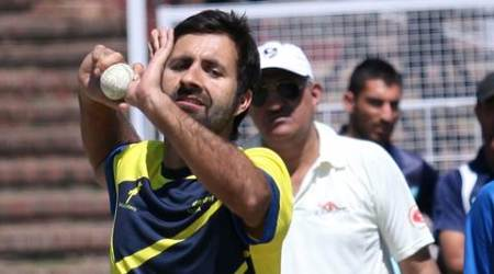 Jammu and Kashmir off-spinner Parvez Rasool during practice session at Sector 16 Cricket Stadium in Chandigarh on Monday, March 31 2014. Express photo by Jaipal Singh
