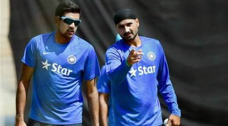 Bengaluru : Spinners R Ashwin and Harbhajan Singh during the training camp for the upcoming series against South Africa at NCA in Bengaluru on Friday. PTI Photo by Shailendra Bhojak (PTI9_25_2015_000078A)