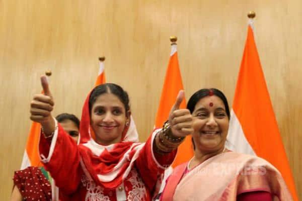Geeta, Pakistan, India, Sushma Swaraj, Geeta Sushma Swaraj, Geeta News, Geeta Returns to india, Geeta Pakistan, Geeta Latest news, geeta in pakistan, Edhi Foundation, Indian Express