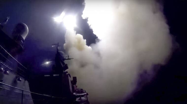 Image result for Russia fires cruise missiles at Islamic State targets from Mediterranean,