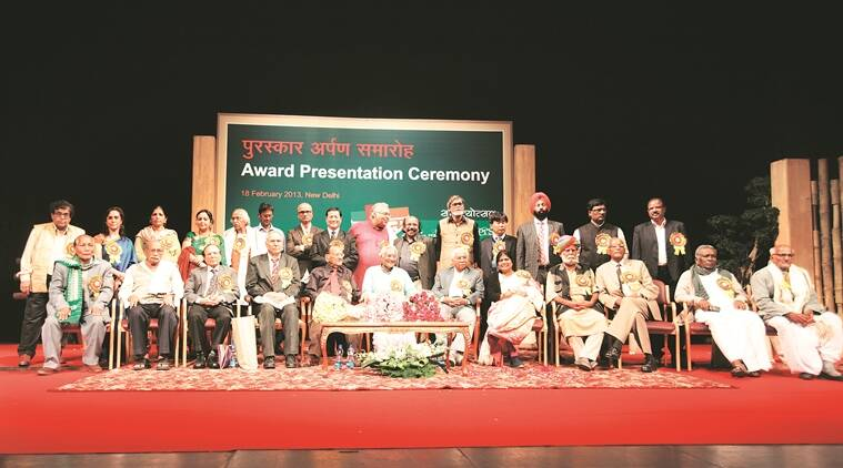 The 2013 Sahitya Akademi award winners at a function in Delhi