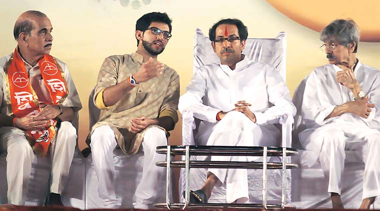 Uddhav Thackeray and his son Aaditya at . (Express Photo by Prashant Nadkar)
