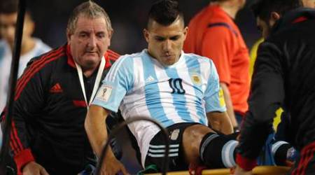 Sergio Aguero says he will be out for a month with muscle tear