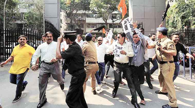 Shiv Sena members outside BCCI office at Wankhede Stadium on Monday. (Source: Express Photo)