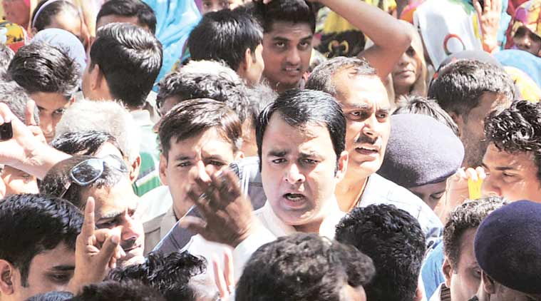 BJP MLA Sangeet Som at Bisara village on Sunday. He said he was not afraid of going to jail.(Express Photo by: Gajendra Yadav)