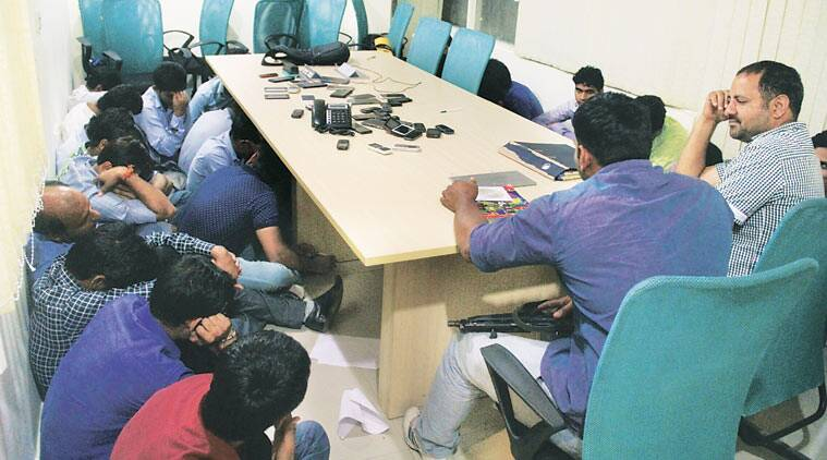 UP Special Task Force officials during the raid Wednesday. Most of the arrested were released on personal bond, but nine prime accused, including the suspected mastermind, will be produced before court in Lucknow. (Express photo)