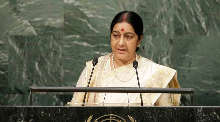 India's Foreign Minister Sushma Swaraj speaks during the 70th session of the United Nations General Assembly at U.N. headquarters, Thursday, Oct. 1, 2015. (AP Photo/Seth Wenig)