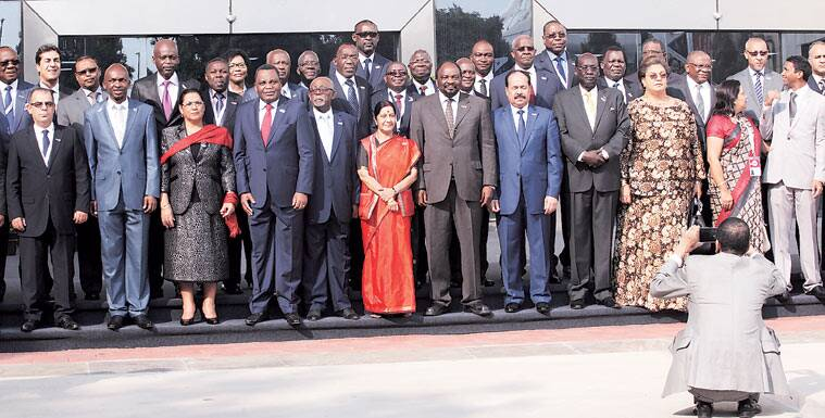 Sushma Swaraj with foreign ministers of African nations in New Delhi on Tuesday. (Source: Expres photo by Renuka Puri)