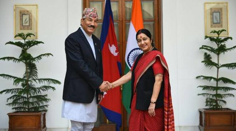 Nepal Deputy Prime Minister Thapa with External Affairs Minister Sushma Swaraj. Image: MEA India