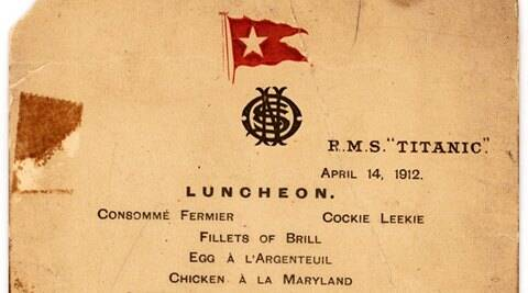 Titanic's last lunch menu goes under the hammer for$88,000