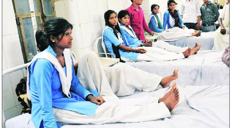The schoolgirls recuperating at a government hospital in Tonk on Thursday. Rohit Jain Paras