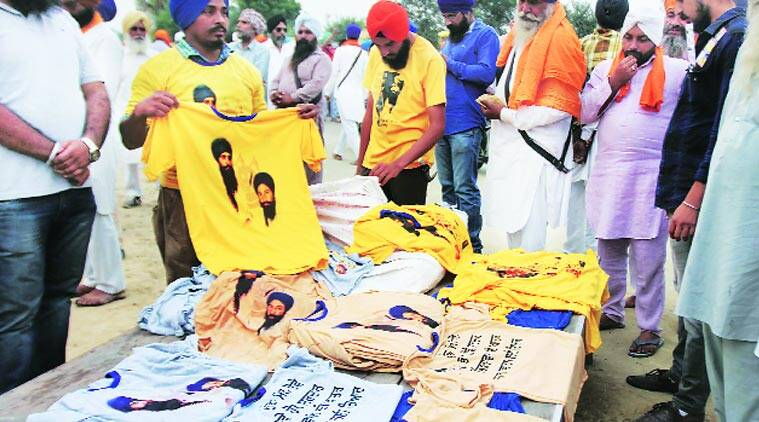 T-shirts of Jarnail Singh Bhindrawale  being sold in at Kotkapura in Faridkot. (Express photo by Gurmeet Singh)