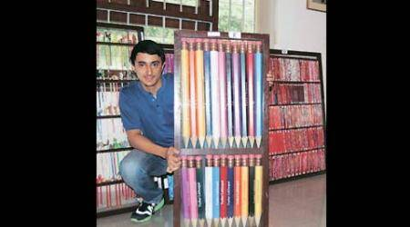 Guinness book of world record, pencil collection, world record academy, tushar pencil collection, golden pencil, Swarovski crystal pencil, delhi news