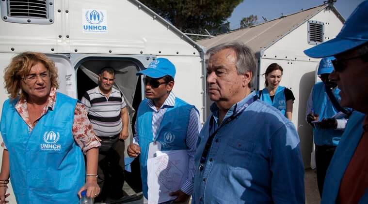 "United Nations High Commissioner for Refugees Antonio Guterres, second right, visits the Moria camp on the eastern Aegean island of Lesbos, Greece, Saturday Oct. 10, 2015. Greece's first ""hotspot,"" or migrant processing center, will open over the next 10 days, allowing migrants to be flown to other European Union countries, mostly of their preference, and have their asylum applications processed there, European Union officials say. (AP Photo/Antonis Pasvantis)"