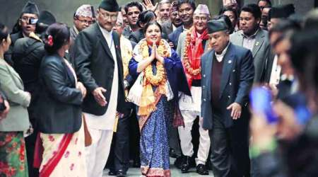 Bidhya Bhandari outside the parliament in Kathmandu on Wednesday.  (Source: Reuters)