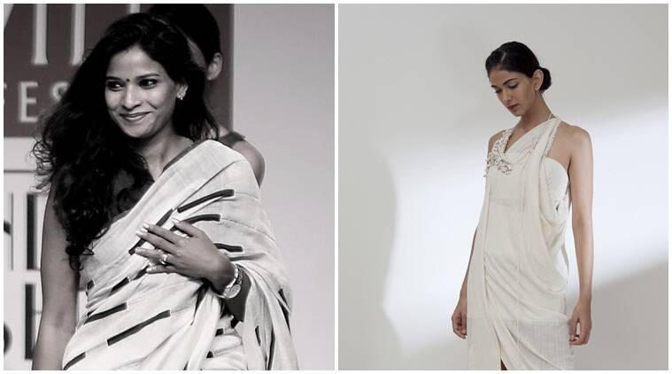 Designer Vaishali Shadangule (left); A model showcases her collection YAJNA