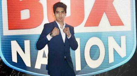 London: Boxer Vijender Singh during the professional bout for title WBA World Super-Middleweight Championship in London on Saturday. PTI Photo(PTI9_27_2015_000209A)