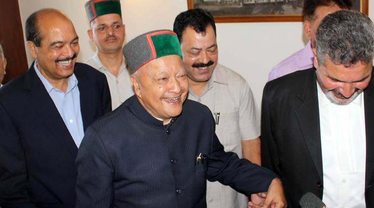 Chief Minister Virbhadra Singh during a press conference in Shimla. Express Photo/File by Lalit Kumar