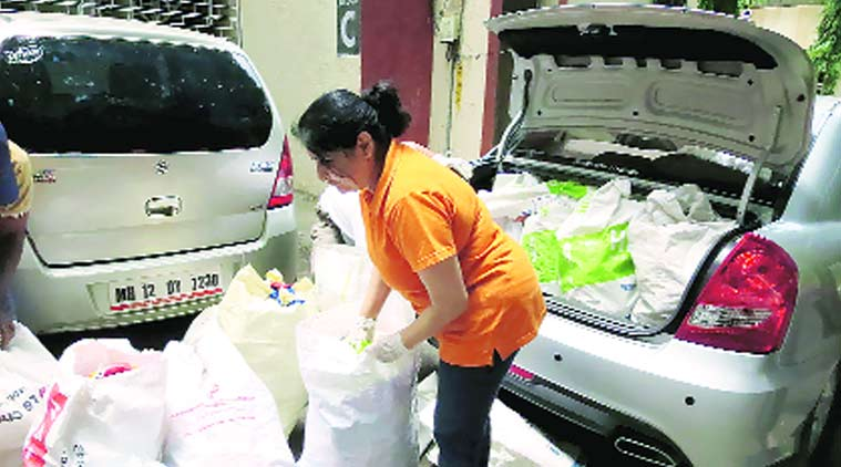 Over a month ago, she learned of a group that facilitates door-to-door collection of plastic once a month from various parts of the city.