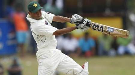 "Pakistan's Younis Khan plays a shot during the fourth day of their first test cricket match against Sri Lanka in Galle *** Local Caption *** ""Pakistan's Younis Khan plays a shot during the fourth day of their first test cricket match against Sri Lanka in Galle June 25, 2012. REUTERS"""