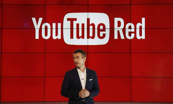 "Robert Kyncl, YouTube Chief Business Officer, speaks as YouTube unveils ""YouTube Red,"" a new subscription service, at YouTube Space LA offices Wednesday. (Source: AP)"
