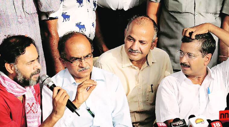In better times: Yogendra Yadav, Prashant Bhushan, Manish Sisodia and Arvind Kejriwal at a press conference. (Source: Express Archive)