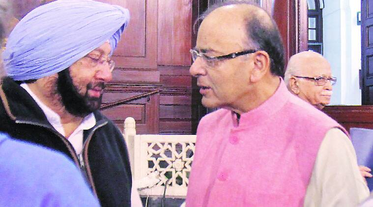 Newly appointed Punjab Congress chief Amarinder Singh with Union Finance Minister Arun Jaitley in Parliament on Friday. Anil Sharma
