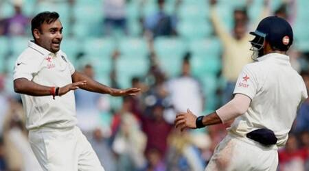 Nagpur: Indian bowler Amit Mishra celebrates the wicket of South African batsman Hashim Amla during the third day of the 3rd test match played in Nagpur, Maharashtra on Friday. PTI Photo by Shashank Parade(PTI11_27_2015_000078B)