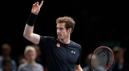 Britain's Andy Murray reacts to David Goffin of Belgium during their round of sixteen match of the BNP Masters tennis tournament, at the Paris refurbished Bercy Arena, in Paris, France, Thursday, Nov. 5, 2015. (AP Photo/Francois Mori)