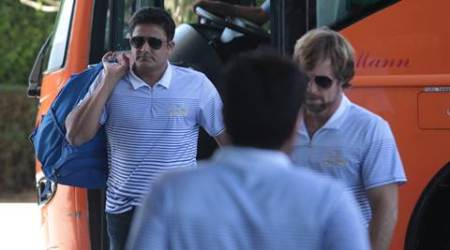 Mumbai Indian officials Jonty Rhodes and Anil Kumble arrives at team hotel in Chandigarh on Saturday, May 02 2015. Express Photo by Kamleshwar Singh