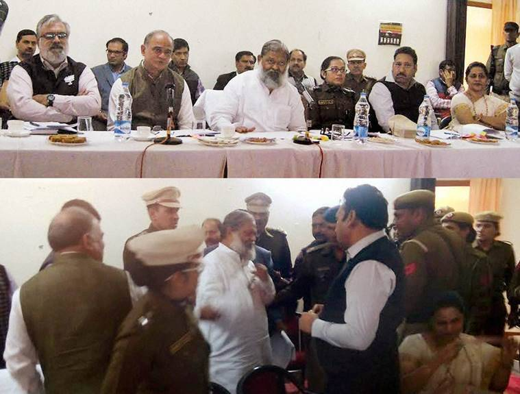 """Fatehabad: **COMBO** Haryana Health Minister Anil Vij walks out of a meeting of District Grievances and Public Relations Committee after an argument with Fatehabad SP Sangeeta Kalia who refused to leave even when the minister told her to """"get out"""" in Fatehabad, Haryana on Friday.  PTI Photo(PTI11_27_2015_000289B)"""