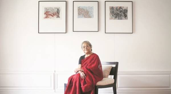 Arpita Singh at the Vadehra Art Gallery, Delhi. (Source: Express photo by Oinam Anand)