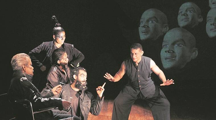 Vinaykumar KJ with the cast in a scene from The Tenth Head