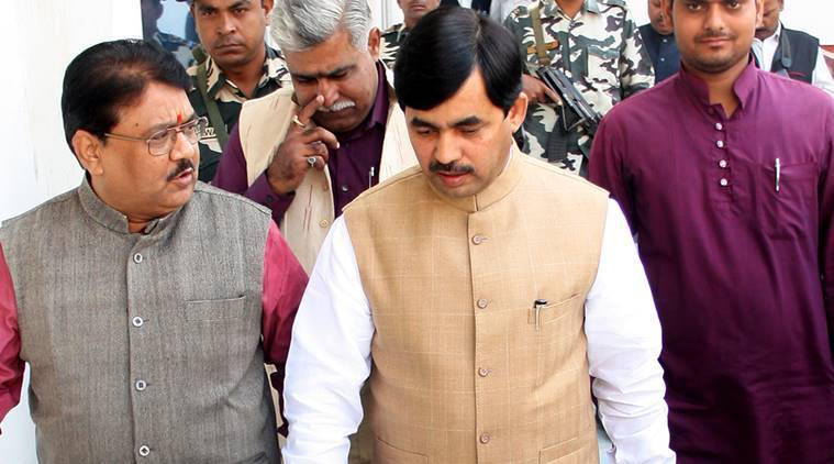 Shahnawaz Hussain on way to address mediapersons in Lucknow. (Express Photo by Pramod Adhikari)