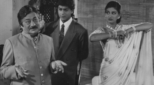 Film star Saeed jaffrey, Shahrukh Khan and Sonali Bendre in ENGLISH BABU DESI MEM. Express archive photo *** Local Caption *** Film star Saeed jaffrey, Shahrukh Khan and Sonali Bendre in ENGLISH BABU DESI MEM. Express archive photo