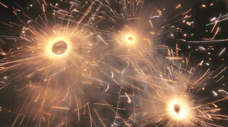 Crackers light up Chandigarh. (Source: Express Photo by Kamleshwar Singh)