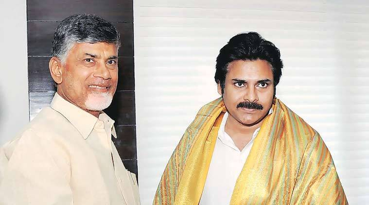 Andhra Pradesh Chief Minister N Chandrababu Naidu made one of his infrequent visits to Hyderabad Thursday.  With actor Pawan Kalyan. (Source: PTI)