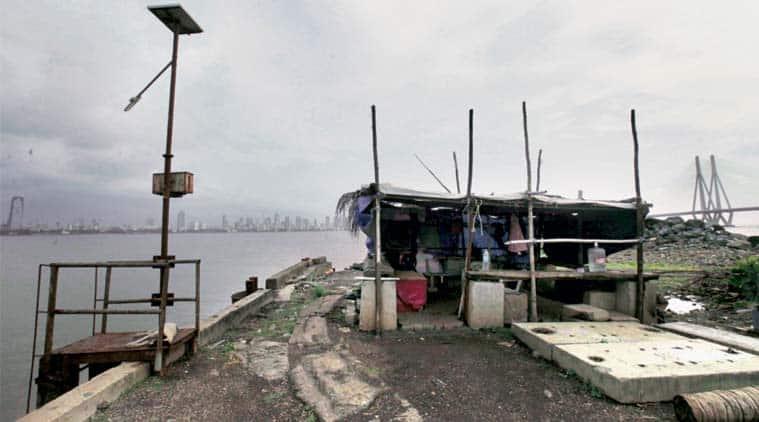The police outpost near Bandra-Worli Sea Link. (Express Photi by: Vasant Prabhu)