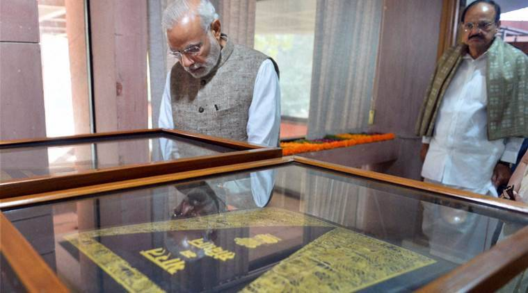New Delhi; Prime Minister Narendra Modi at the inauguration of an exhibition on making of the Constitution by the Constituent Assembly, at Parliament Library in New Delhi on Thursday. PTI Photo(PTI11_26_2015_000155B)