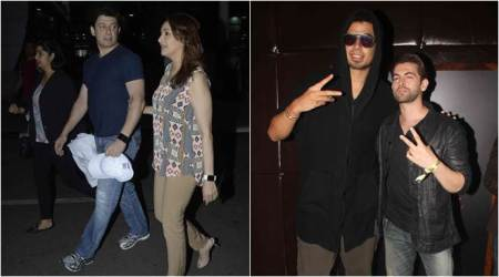 Madhuri Dixit, husband Dr Nene at airport; Neil Nitin hosts DJ Afrojack